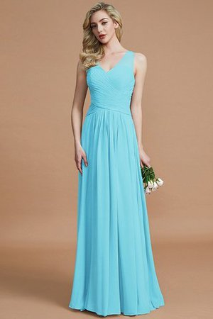 Natural Waist Floor Length A-Line V-Neck Bridesmaid Dress - 8