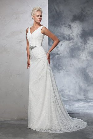 Sleeveless Mermaid V-Neck Lace Natural Waist Wedding Dress - 6