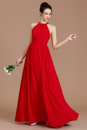 Ruched Floor Length Chiffon Natural Waist Halter Bridesmaid Dress - 4