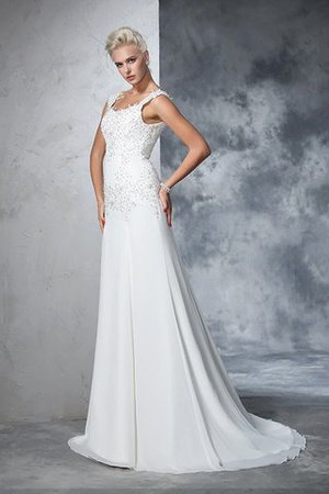 Empire Waist Court Train Sleeveless Chiffon Wide Straps Wedding Dress - 6