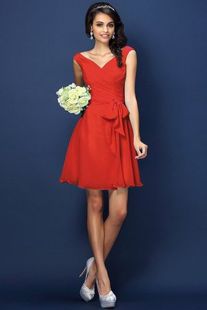 Zipper Up A-Line V-Neck Short Bridesmaid Dress - 23