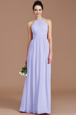 Ruched Floor Length Chiffon Natural Waist Halter Bridesmaid Dress - 22