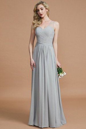 Natural Waist Floor Length A-Line V-Neck Bridesmaid Dress - 32