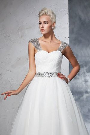 Ball Gown Spaghetti Straps Sleeveless Ruched Empire Waist Wedding Dress - 5