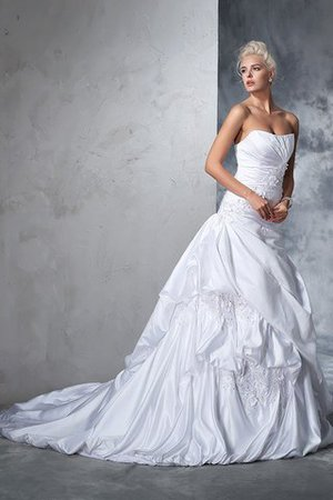 Natural Waist Appliques Long Chapel Train Strapless Wedding Dress - 4