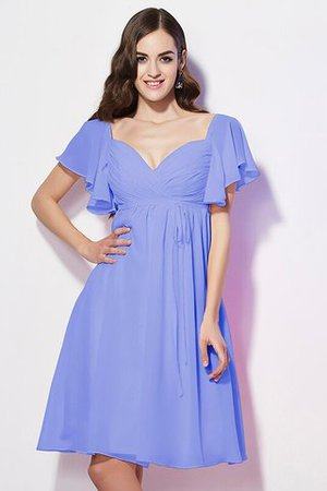Ruffles Knee Length Short Sleeves Sweetheart Bridesmaid Dress - 18