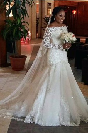 Mermaid Off The Shoulder Natural Waist Lace Floor Length Wedding Dress - 1