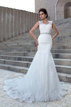 V-Neck Mermaid Sleeveless Chapel Train Appliques Wedding Dress - 1