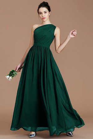 Floor Length Natural Waist Chiffon Ruched One Shoulder Bridesmaid Dress - 13