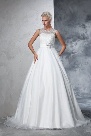 Empire Waist Ball Gown Long Sleeveless Lace Wedding Dress - 1