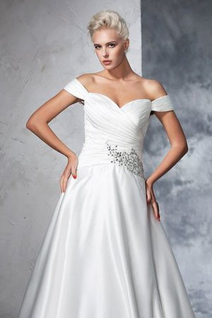 Long Taffeta Ball Gown Natural Waist Ruched Wedding Dress - 6