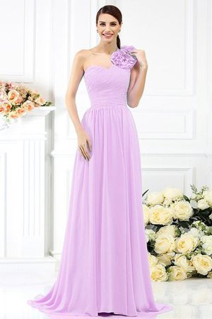 Chiffon A-Line One Shoulder Long Flowers Bridesmaid Dress - 19