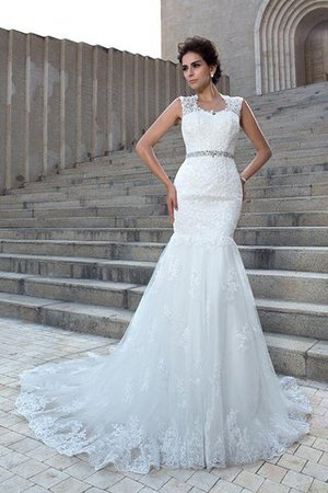 V-Neck Mermaid Sleeveless Chapel Train Appliques Wedding Dress - 4