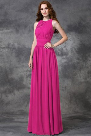 Sleeveless Ruched Natural Waist Chiffon Long Bridesmaid Dress - 10