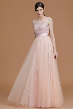 Tulle Zipper Up A-Line Appliques Bridesmaid Dress - 3