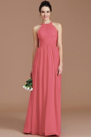 Ruched Floor Length Chiffon Natural Waist Halter Bridesmaid Dress - 30
