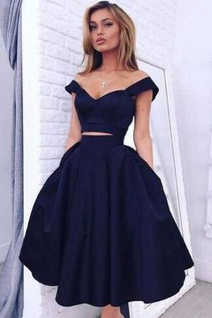 Off The Shoulder 2 Piece Sleeveless Princess Knee Length Party Dress - 1