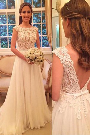Chiffon Scoop Sweep Train Natural Waist Princess Wedding Dress - 1