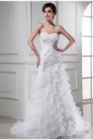 Sweetheart Chapel Train Lace-up Appliques Sleeveless Wedding Dress - 1