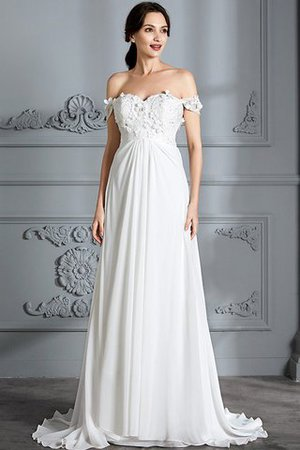 Sleeveless Chiffon Natural Waist Off The Shoulder Floor Length Wedding Dress - 1