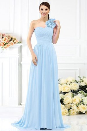 Chiffon A-Line One Shoulder Long Flowers Bridesmaid Dress - 18