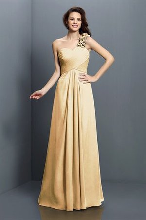 Zipper Up One Shoulder Chiffon A-Line Bridesmaid Dress - 6