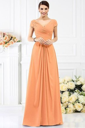 Long Empire Waist Pleated A-Line Short Sleeves Bridesmaid Dress - 20