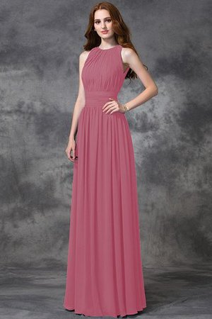Sleeveless Ruched Natural Waist Chiffon Long Bridesmaid Dress - 28