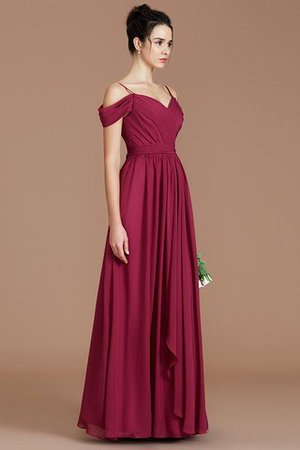 Chiffon Floor Length A-Line Ruched Bridesmaid Dress - 5