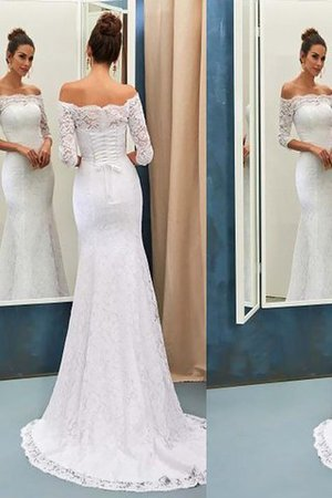 Natural Waist Off The Shoulder Long Sleeves Sweep Train Lace Wedding Dress - 1