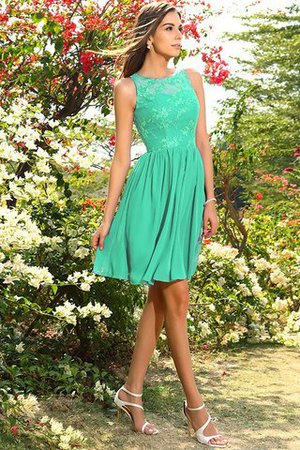 A-Line Natural Waist Sleeveless Chiffon Short Bridesmaid Dress - 15