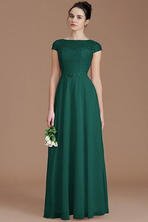 Floor Length Lace Chiffon Natural Waist Zipper Up Bridesmaid Dress - 14
