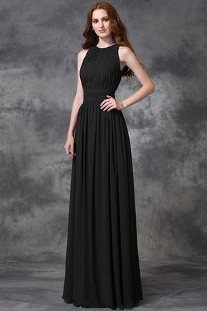 Sleeveless Ruched Natural Waist Chiffon Long Bridesmaid Dress - 4