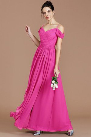 Chiffon Floor Length A-Line Ruched Bridesmaid Dress - 17
