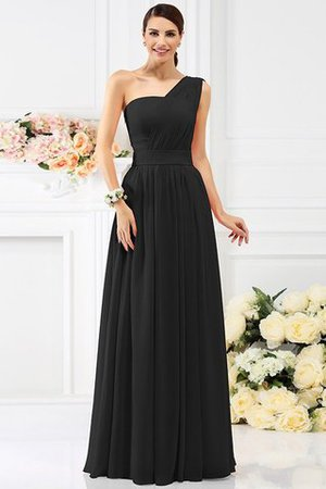 Pleated Long A-Line One Shoulder Bridesmaid Dress - 2