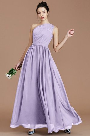 Floor Length Natural Waist Chiffon Ruched One Shoulder Bridesmaid Dress - 23