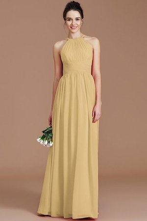 Ruched Floor Length Chiffon Natural Waist Halter Bridesmaid Dress - 19