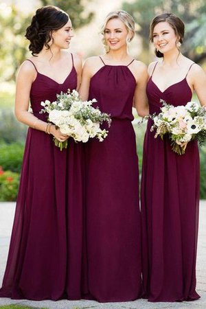 Chiffon Sleeveless A-Line Natural Waist Floor Length Bridesmaid Dress - 1