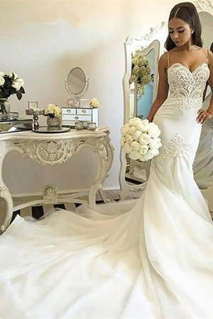 Natural Waist Sleeveless Mermaid Spaghetti Straps Chapel Train Wedding Dress - 2
