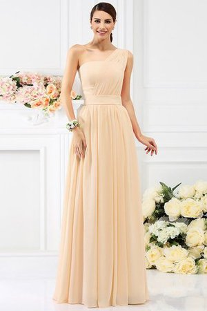 Pleated Long A-Line One Shoulder Bridesmaid Dress - 6