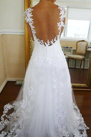Natural Waist V-Neck A-Line Tulle Wedding Dress - 2