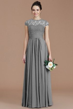 Chiffon Floor Length A-Line Jewel Short Sleeves Bridesmaid Dress - 32