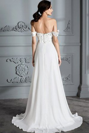 Sleeveless Chiffon Natural Waist Off The Shoulder Floor Length Wedding Dress - 7