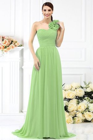 Chiffon A-Line One Shoulder Long Flowers Bridesmaid Dress - 26