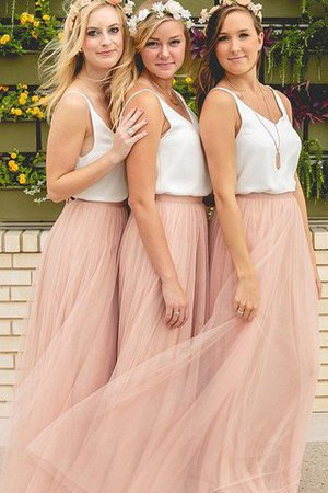 Sleeveless A-Line Tulle V-Neck Bridesmaid Dress - 1