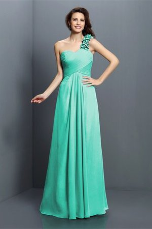 Zipper Up One Shoulder Chiffon A-Line Bridesmaid Dress - 15