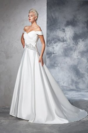 Long Taffeta Ball Gown Natural Waist Ruched Wedding Dress - 5