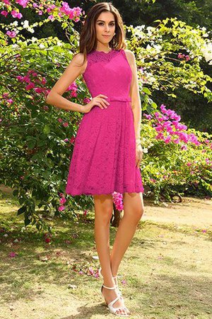 Knee Length Natural Waist Scoop Lace Elastic Woven Satin Bridesmaid Dress - 11