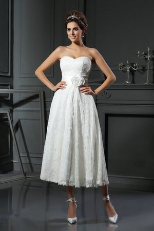 Sleeveless Lace Sweetheart Short Wedding Dress - 1