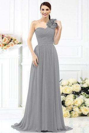 Chiffon A-Line One Shoulder Long Flowers Bridesmaid Dress - 27